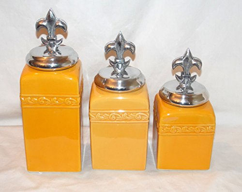 (New 3pc Golden Yellow Scroll Leave Design with Silver Fleur De Lis Lid Kitchen Canister Set)