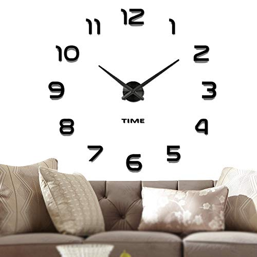 Vangold Frameless DIY Wall Clock, 2-Year Warranty 3D Mirror Wall Clock Large Mute Wall Stickers for Living Room Bedroom Home Decorations (Black-42) (Sale Clocks Interesting For)