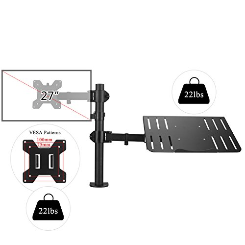 Suptek Full Motion Computer Monitor and Laptop Riser Desk Mount Stand, Height Adjustable (400mm), Fits 13-27'' Screen and up to 17'' Notebooks, VESA 75/100, up to 22lbs for Each (MD6432TP004) by suptek (Image #1)