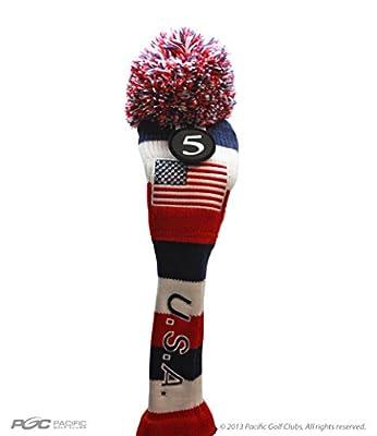 USA Majek #5 Hybrid Golf Pom Pom Knit Rescue Utility Club Head Cover