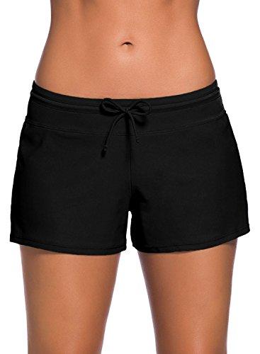 Actloe Women's High Waistband Swimsuit Bottom Summer Beach Wear Plus Size Board Shorts Side Slit (S-3XL) Black XXX-Large