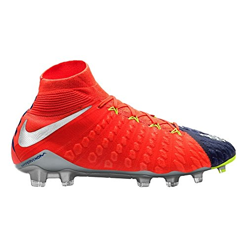 Nike Men's Hypervenom Phantom III DF FG Soccer Cleat - (Deep Royal Blue/Chrome/Total Crimson) (7.5)