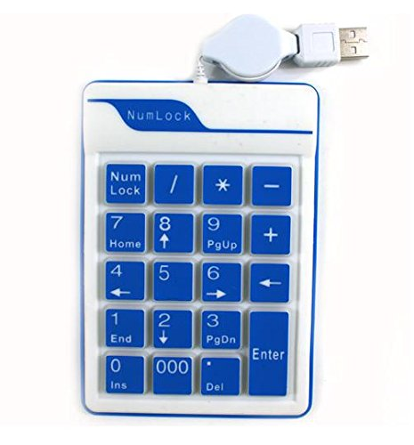 DC Silicone USB 19 keys Small Numeric Number Keypad Keyboard Numpad for Notebook Laptop PC Computer. (Blue)
