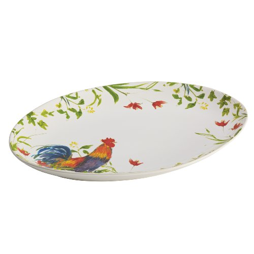 Rooster Serving Platter - BonJour Dinnerware Meadow Rooster Stoneware 9-3/4-Inch by 14-Inch Oval Platter