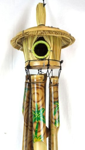 Hand Carved Palm Tree Bird House Canary Fench red birds Bamboo Wood Tropical Wind Chime (Tropical Hut)
