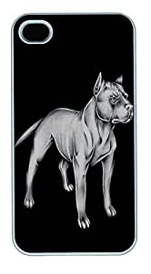 IPhone 4S Cases Pit Bull Animated Dog HAC1014397 Polycarbonate Hard Case Back Cover for iPhone 4/4S White