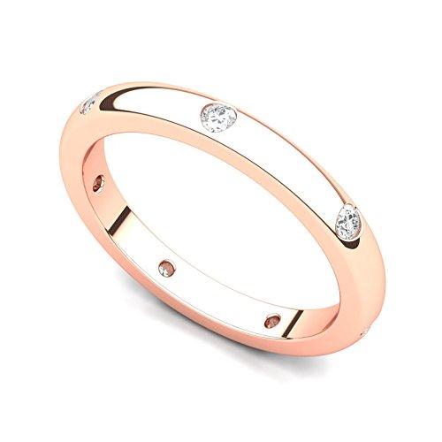 14k Rose Gold Bezel set Diamond Semi Eternity Wedding Band Ring (G-H/SI, 0.21 ct.), 6 ()