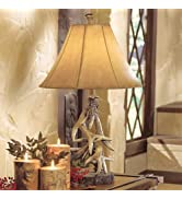 BLACK FOREST DECOR Faux Antler Table Lamp with Shade - Rustic Living Room or Home Decor