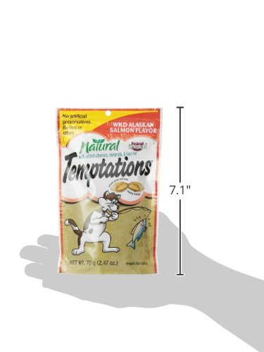 TEMPTATIONS Natural Treats for Cats Wild Alaskan Salmon Flavor 2.47 Ounces (Pack of 12)