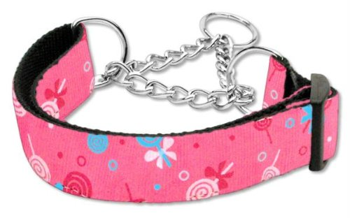 Mirage Pet Products Lollipops Nylon Ribbon Martingale Collar for Pets, Medium, Bright Pink