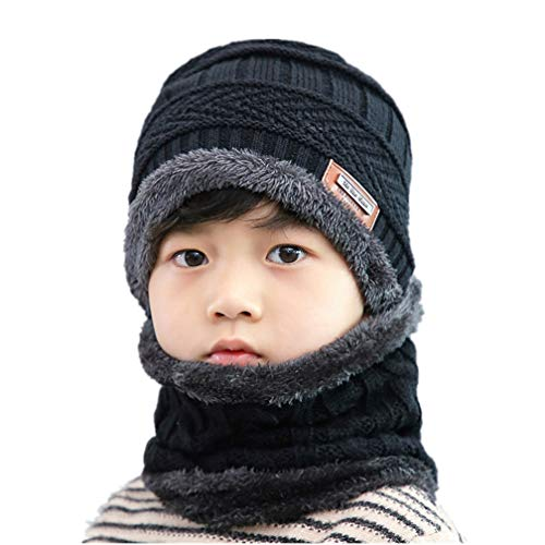 (Hellofuture 2-Pieces Winter Beanie Hat Scarf Set Warm Knit Hat Thick Fleece Lined Winter Hat & Scarf for Men Women (Kid-Black) )