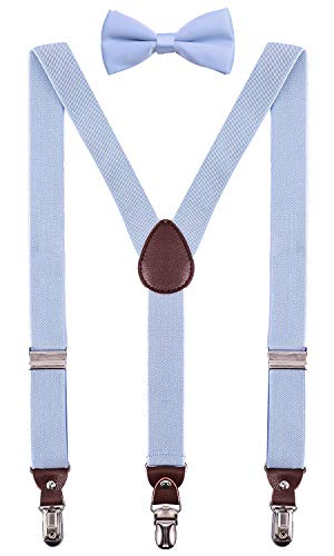 PZLE Boys Suspenders and Bow Tie Adjustable Set for Wedding 30 Inches Light Blue ()