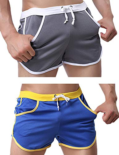Rexcyril Men's Running Workout Bodybuilding Gym Shorts Athletic Sports Casual Short Pants Medium 2-Pack ()