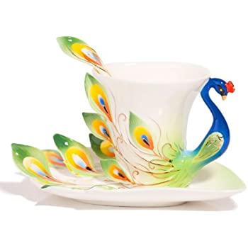 Coffee Cup,Hand Crafted Porcelain Enamel Graceful Peacock Tea Coffee Cup Set with Saucer and Spoon, Green By Angel's Wings