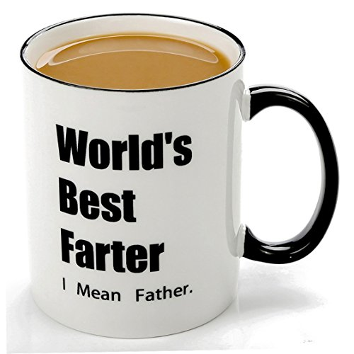 Funny Mugs-Worlds Best Farter I Mean Father-11 OZ Ceramic Coffee Mugs,Birthday Christmas Gift Ideas For Dad Him Husband