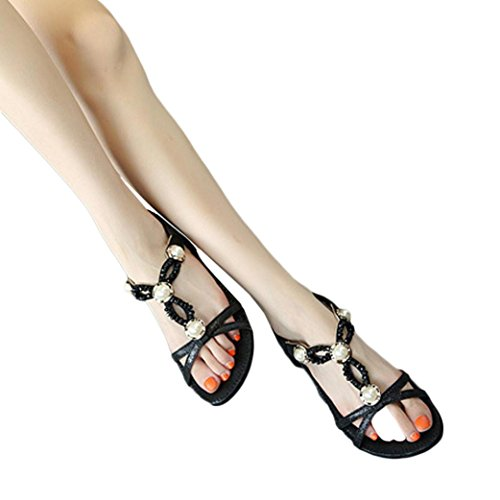 HLHN Women Sandals,Bohemia Roman Gladiator Rhinestone/Buckle Ankle Strap Flat Heel Open-Toe Shoes Casual Vintage Lady Black B