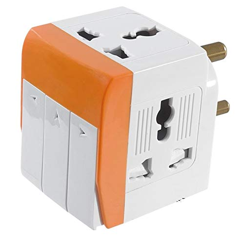 Gadget Wagon Plastic Universal Input 3 Way Socket 10 A 250V 2500 Watts Multi-Country Individual Switch, LED Indicator for Home and More (Multicolour)