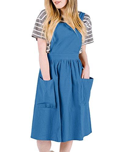 Sibylla Women's Shoulder Straps Bib Overall Dress Loose Pinafore A-Line Midi Dress Suspender Skirt with Pocket