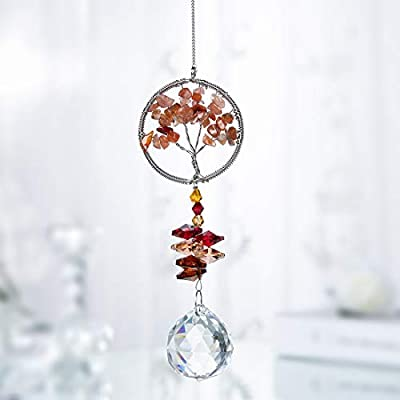 H&D Tree of Life Pendant with Crystal Suncatcher Hanging Ornaments for Window : Garden & Outdoor