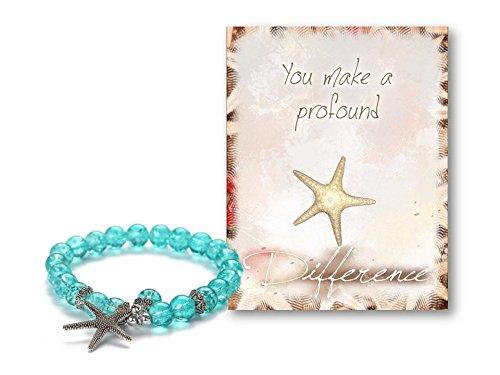 Bracelet Starfish (Smiling Wisdom - Stretch Starfish Bracelet Blue Aqua - You Make a Profound Difference Gift Set - Appreciation Thanks - Encourage a Friend, Teacher, Volunteer, Caregiver, Coach, Mentor, Teenage Girl)