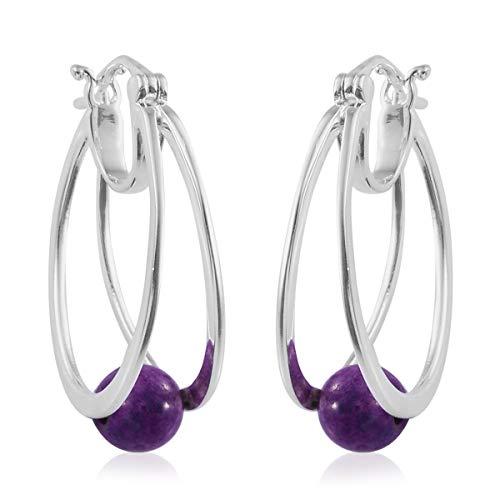 Hoops Hoop Earrings 925 Sterling Silver Purple Turquoise Gift Jewelry for Women