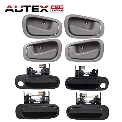 AUTEX Door Handles 8pcs Exterior Interior Front Rear Left Right Driver Passenger Side Compatible with Toyota Corolla,Chevrolet Prizm 1998 1999 2000 2001 2002 77563 77567 77426 77431 79503 79502 ()
