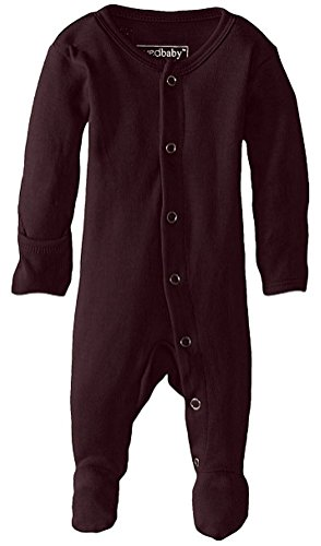 L'ovedbaby Unisex-Baby Organic Cotton Gloved-Sleeve Footed Overall (0-3 Months, Eggplant)