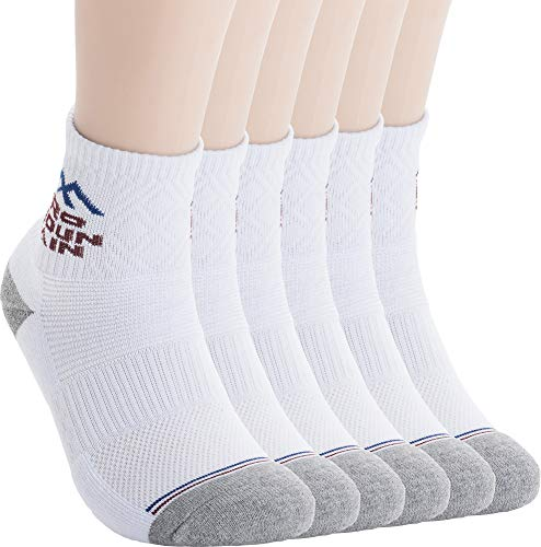 Pro Mountain Cotton Quarter Ankle Cushion All Day Hiking Athletic Sports Socks (M(US Women Shoes 7.5~9.5=Men 6.5~8.5), White 6pairs Pack M-size)