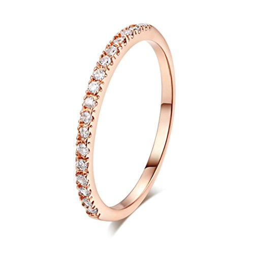 OldSch001 Rings for Women,Fashion Simple Zircon Micro Inlaid Chic Wedding Ring (Rose Gold, 5.5)