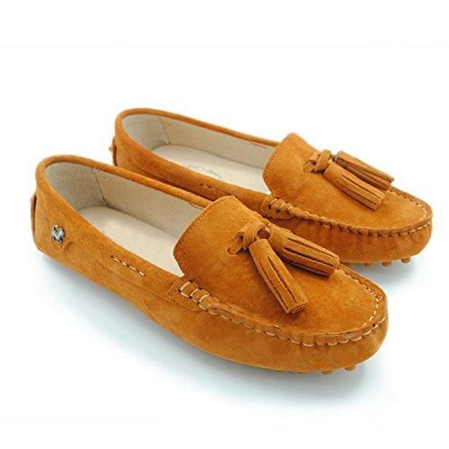 Minishion Meisjes Dames Instapper Suède Casual Kwasten Loafers Flats Sportschoenen Oranje