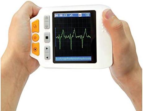 XKRSBS ECG portátil, ECG médico portátil Monitor de frecuencia cardíaca ECG LCD Electrocardiógrafo de tórax 3 Canales 25 Cables