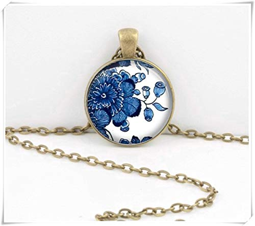 (no see long time Delft China Porcelain Necklace,Blue and White Pendant Necklace,Dome Glass Jewelry,)