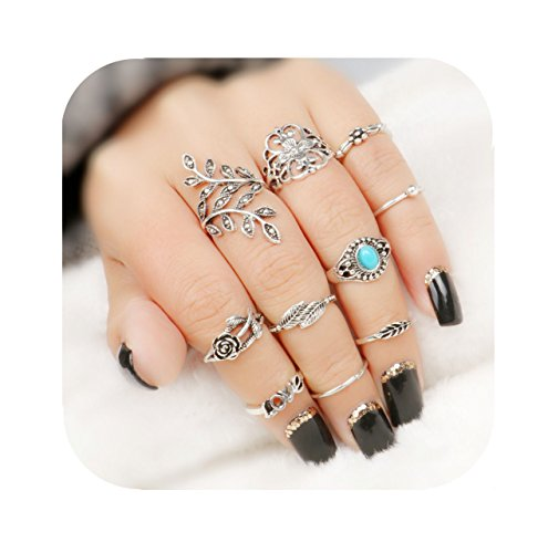 Hanloud Vintage Knuckle Rings Set Silver Joint Nail Ring Set Multi Turquoise Leaf Love Rose Flower Midi Mid Stacking Ring Set -