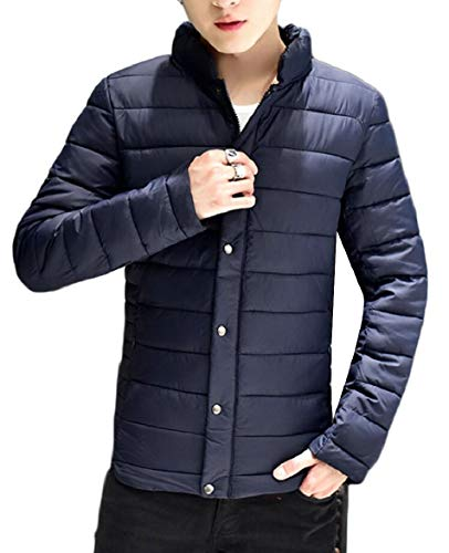 Quilted Down Jacket Leisure Coat Stand Zip Blue Navy Winter Warm security Mens Collar 0T60FS