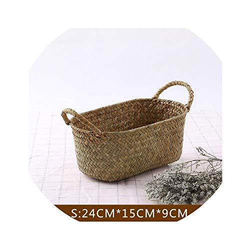 (Sheep Handmade Woven Storage Basket Straw Food Container Makeup Organizer Rattan Bread Fruit Case Holder Seagrass Wicker Basket,S Size)