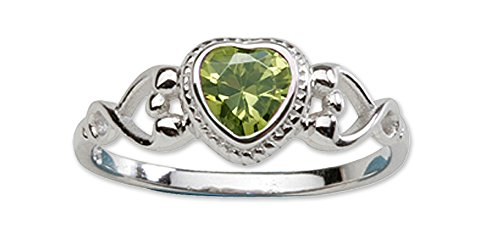 Peridot Kids Ring (Sterling Silver August CZ Simulated Birthstone Baby Ring with Heart)