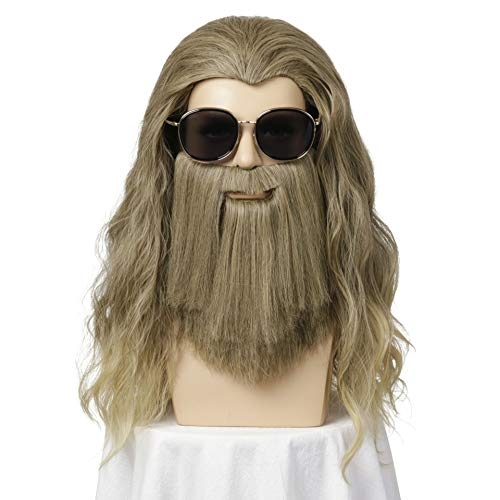 Halloween Costumes With Beards 2019 (REECHO Long Curly Wig with Long Full Beard Garibaldi for Men Halloween Costume Cosplay Anime Party Wig Color Brown and Blonde)