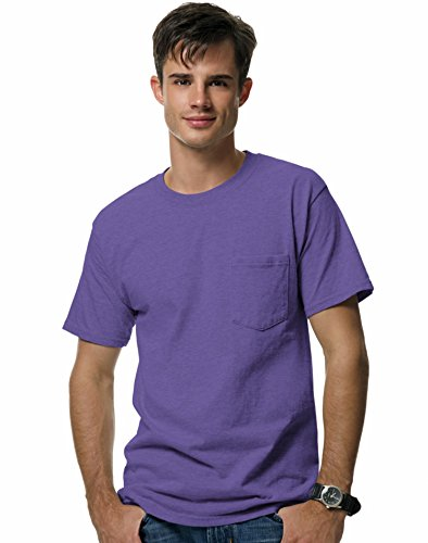 - Hanes 5190 Beefy-T Adult Pocket T-Shirt Purple- Size XL