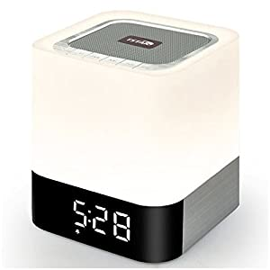 Wireless Bluetooth 4.0 Speaker Portable HIFI Stereo with Led Light Lamp and Alarm Clock, Hands-free Calls,Quality Sound, Touch Sensor, MP3 Player, Support SD TF Card, 3.5mm AUX Jack (White) from TSTAR