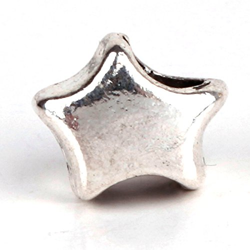 - RUBYCA 30pcs Tibetan Silver Tone Spacer Beads Fit European Charms Bracelet Shiny Star Design