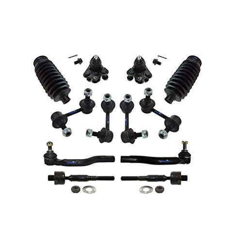 PartsW 12 Pc Front & Rear Suspension Kit for Honda Civic 2006-2011 / Inner and Outer Tie Rod End, Sway Bar End Link, Rack & Pinion Bellow Boots, Lower Ball Joints
