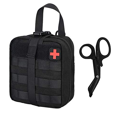Trauma Kit Bag - GRULLIN Tactical MOLLE Trauma IFAK Pouch Kit Bag+Stainless Steel Bandage Scissors Tactical Gear:Rip-Away EMT First Aid Emergency Survival Gear Medical Trauma Shears Pouch Kit Bag