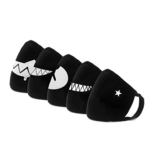 Mouth Mask 5 Pack Top Quality Hanjoy EXO Cute Bear Teeth Star Unisex Cotton Blend Anti Dust Kpop Fashion Anime Face Mouth Mask Black for Men Woman