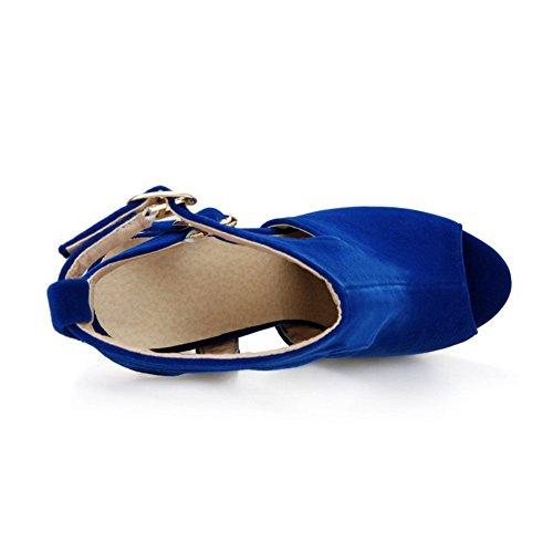 AllhqFashion Mujeres Peep Tacón Alto Esmerilado Sólido Hebilla Sandalia Azul