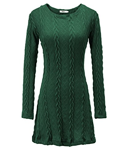 Milkuu Women's Knitted Long Sleeve Fall Tunic Dress (US 6-8 / Tag Size M, Green) - Knitted Tunic Dress