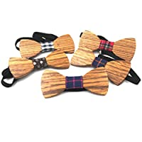 AlinaFashionExpress Men's Adjustable Wooden Bow Tie