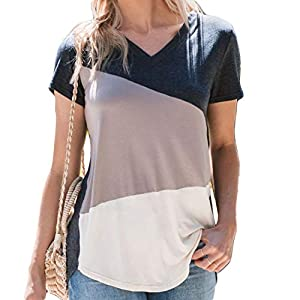 Amaryllis Apparel Women's Tilted Color Block Tee | 100% Modal