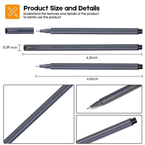 iBayam 18 Pack Black Ink Felt Tip Pens Fine Point Pens Fine Tip Markers Fineliner Pens Set for Office Home Work School Teacher Student Bullet Journaling Planner Writing Drawing Sketching Art Supplies