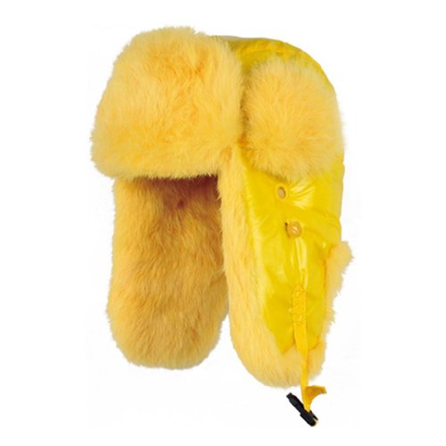 Kenmont Women's Aviator Hat Rabbit Fur Trooper Winter Ski 23.2inch Yellow