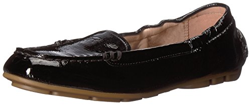 Black Crinkled Patent Leather (Taryn Rose Women's Kristine Crinkled Patent Driving Style Loafer, Black, 7 M M US)